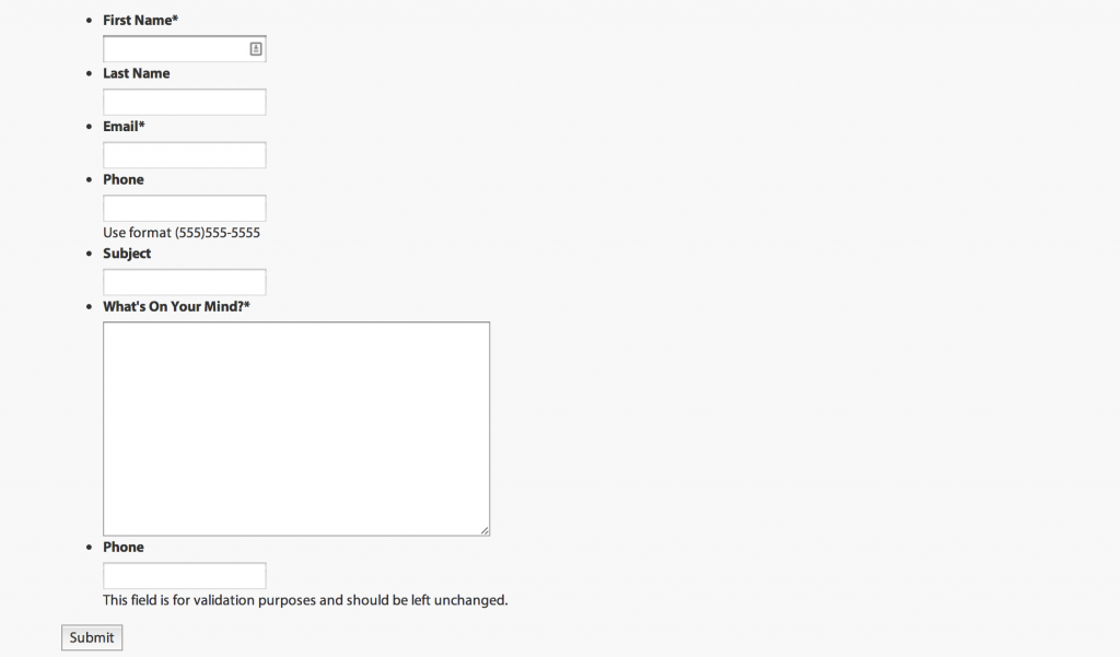 Screenshot of Gravity Form with CSS output disabled