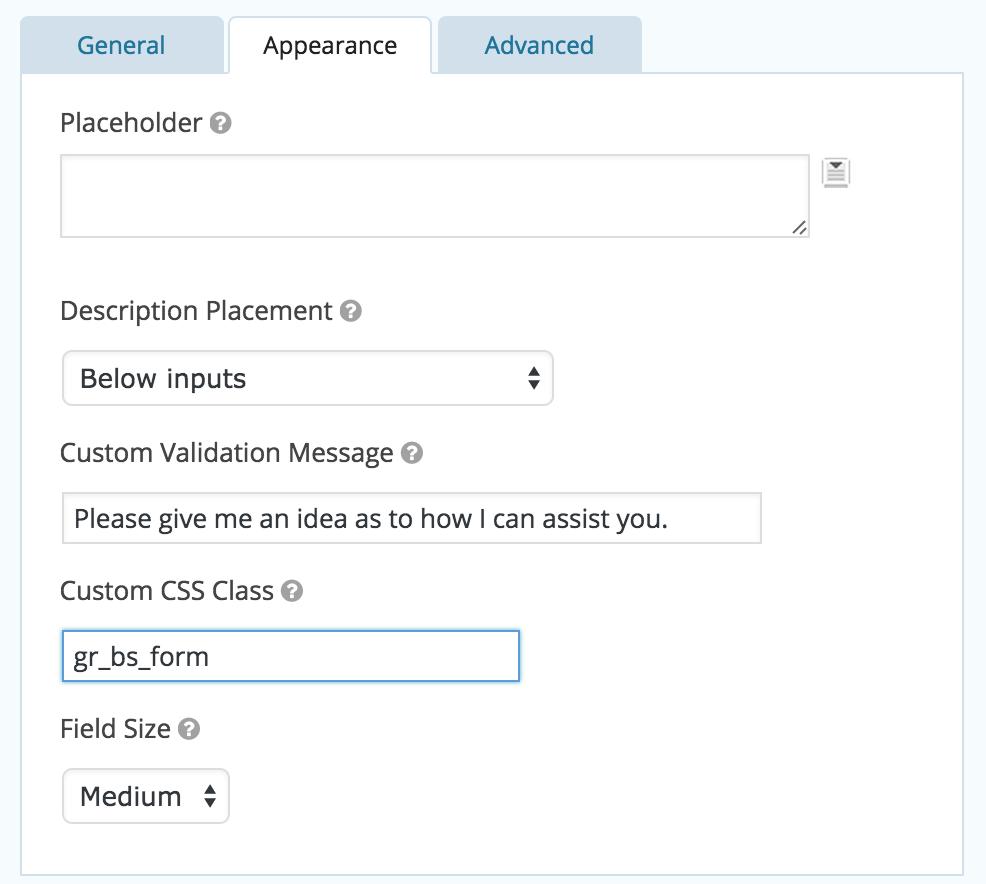 Screenshot of Gravity Forms Custom CSS Class