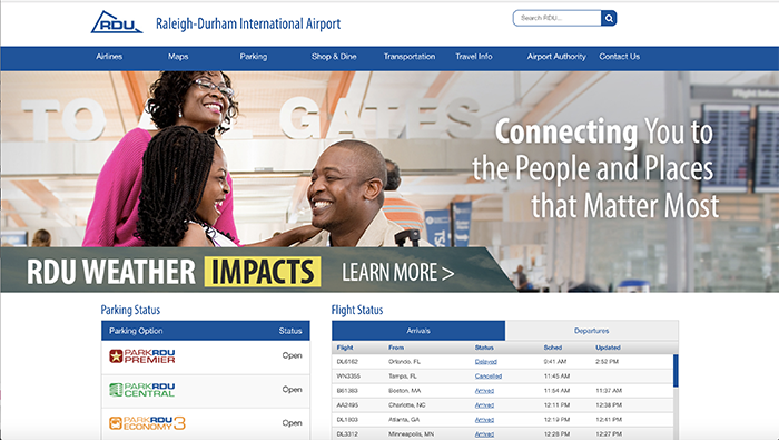Screenshot of Raleigh-Durham Internation Airport