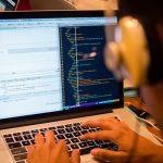 JavaScript developer coding in React