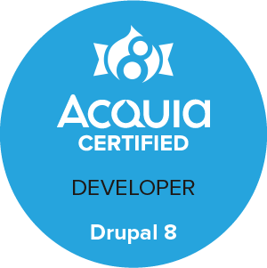 Acquia Certified Drupal 8 Developer badge