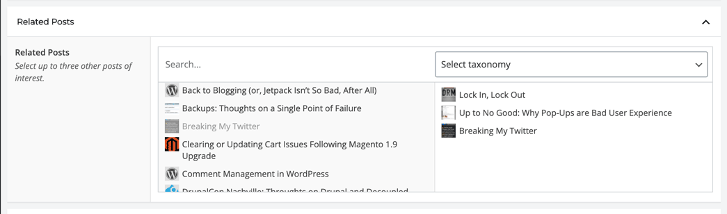 Screenshot of related posts field in the WordPress backend.